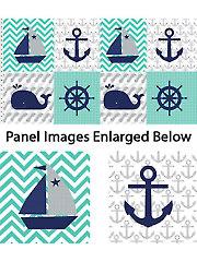 "Nautical Treasure Block Repeat Panel - 42"" x 24"""