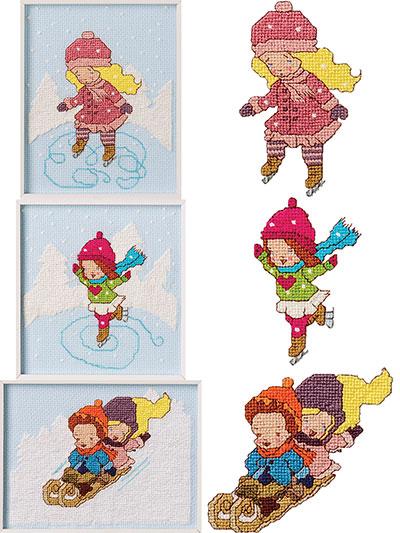Snow Fun Trio Cross Stitch Pattern