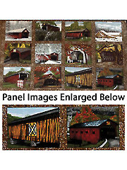 "Quilt Barns and Bridges Panel - 42"" x 24"""
