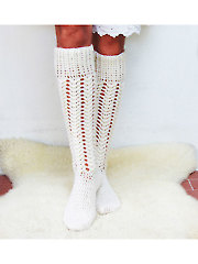 Aran Cabled Long Socks Crochet Pattern