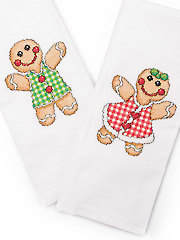 Gingerbread Couple Towels Cross Stitch Pattern