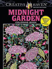 Creative Haven Midnight Garden Coloring Book: Black Background