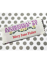 """An Original To Remember"" Precut Personalized Woven Label 20/pkg."