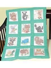 """Forest Friends 9"""" Prestamped Nursery Quilt Blocks"""