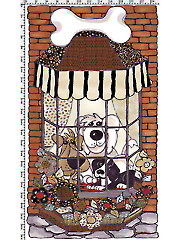 "Doggies in the Window Fabric Panel 24"" x 42"""