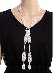 Crystals & Pearls Lariat & Bracelet Crochet Set