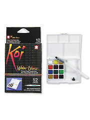 Koi Water Colors Field Sketch Box with Brush - 12 Color