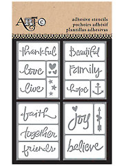 "3"" x 4"" Adhesive Stencils Inspirational Words - 15/Pc."
