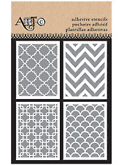 "3"" x 4"" Adhesive Stencils Patterns - 4/Sht."