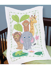 Jungle Prestamped Crib Quilt Top
