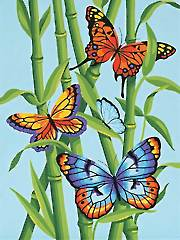 Butterflies & Bamboo Paint by Number Kit