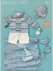 Sirdar Snuggly Baby Crofter 4-Ply 4617: Baby Boy Knit Set