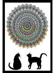 Zenbroidery� Cat Mandala Picture Stamped Embroidery