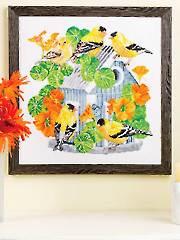 Summer Goldfinches Birdhouse Cross Stitch Pattern