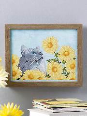 Gray Cat Floral Cross Stitch Pattern