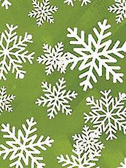 Green Glitter Snowflakes 1-Yard Cut