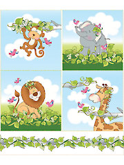 "Jungle Buddies Squares Panel - 10"" x 12"""