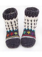 Fair Isle Booties for Kids Crochet Pattern