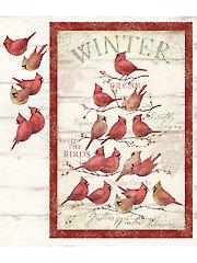 """Cardinal Winter Panel - 36"""" x 43"""""""
