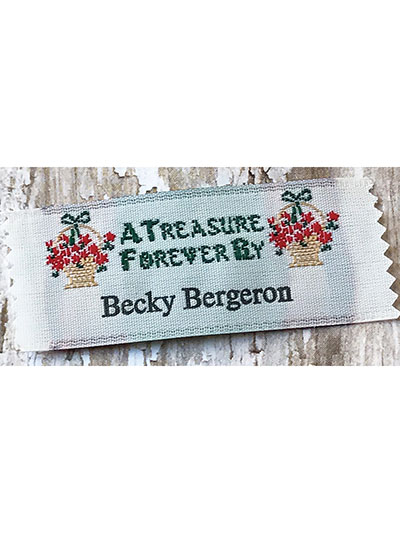 """A Treasure Forever By"" Precut Personalized Woven Label - 20/pkg"