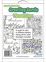 Creative Coloring Thank You Greeting Cards & Envelopes