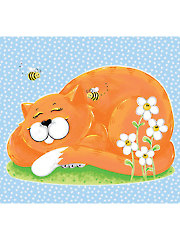 "Purrl the Cat Playmat Panel - 44"" x 36"""