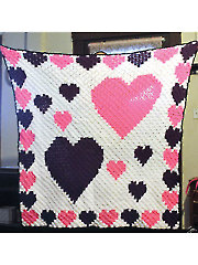 Corner to Corner Heart Border Afghan