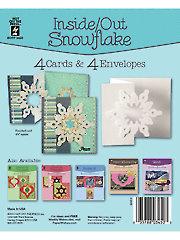Inside Out Snowflake Die Cut Card & Envelopes 4/Pkg.