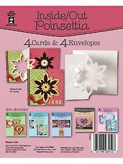 Inside Out Poinsettia Die Cut Cards & Envelopes 4/Pkg.
