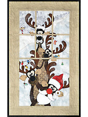 Reindeer Games Window Pane Quilt Pattern or Embellishment Set
