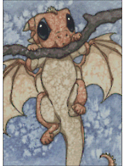 Hanging Around Dragon Counted Cross Stitch Pattern