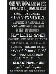 "Grandparents House Rules Panel - 24"" x 44"""