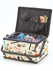 Notions Print Sewing Basket