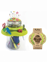 TUTU Mason Jar Sewing Caddy Green