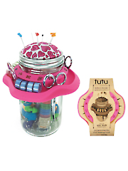 TUTU Mason Jar Sewing Caddy Pink