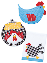 Charming Chickens Potholders & Tea Towels Pattern