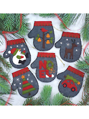 Charcoal Mittens Ornament Sewing Kit