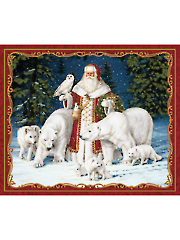 "Arctic Santa Metallic Panel Red 44"" x 36"""