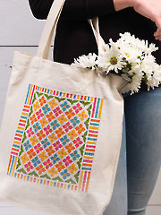Flowers & Stripes Tote Cross Stitch Pattern