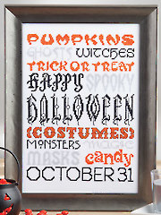Halloween Typography Cross Stitch Pattern