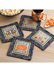 Trick-or-Treat Coasters Cross Stitch Pattern