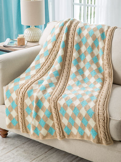 Tunisian Argyle Throw