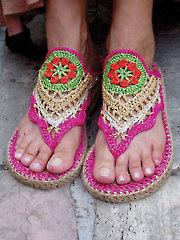 Flower Power Hippie Sandals With Doormat Soles
