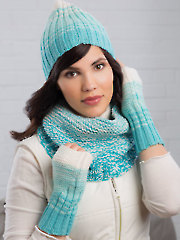 Reversible Rib Stripe Hat, Cowl & Mitts Knit Pattern