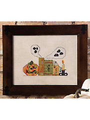Haunted Bookshelf Cross Stitch Pattern