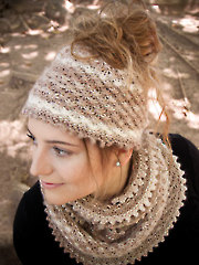 ANNIE'S SIGNATURE DESIGNS: Autumn Dust Messy Bun Hat & Cowl Knit Pattern