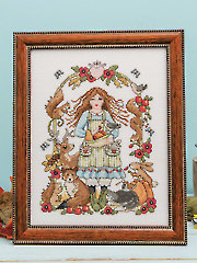 Autumn Harvest Girl Cross Stitch Pattern