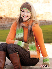 Colorful Cables Set-Scarf, Head Band, Mitts Crochet Pattern