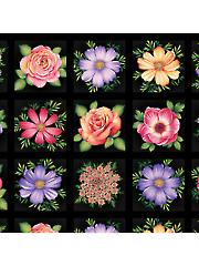"Black Flower Blocks Panel 24"" x 44"""