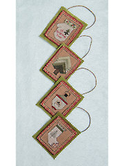 Quartet of Country Ornaments Cross Stitch Pattern